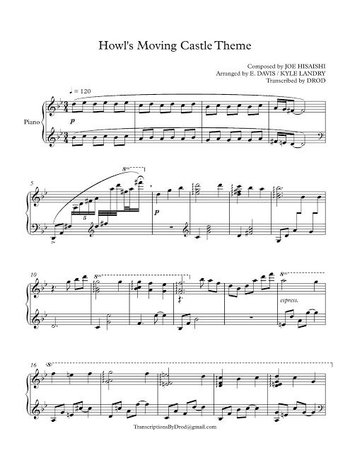 howl s moving castle theme piano sheet