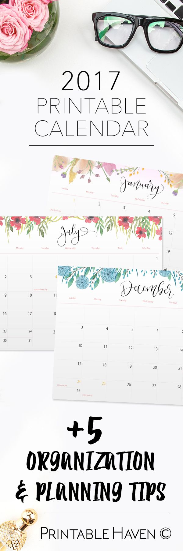 2017 and 2018 Printable Wall, Desktop or Binder Calendars | Organizing