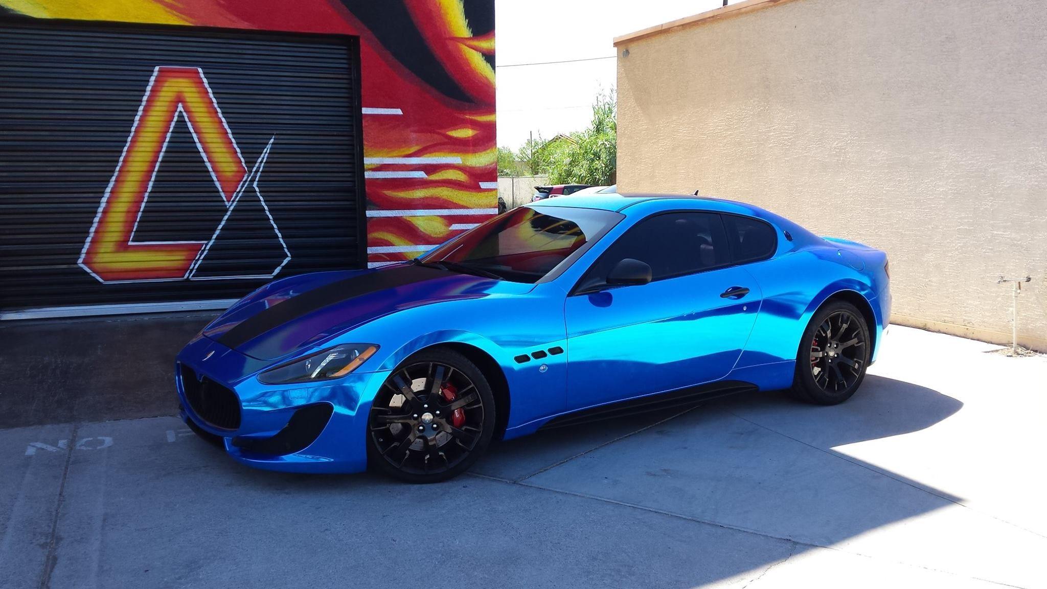 Maserati Gran Turismo Sport Avery Blue Chrome W Carbon Fiber Hood Matte Black Handles Side Mirrors Side Skir Maserati Vinyl Wrap Car Maserati Granturismo