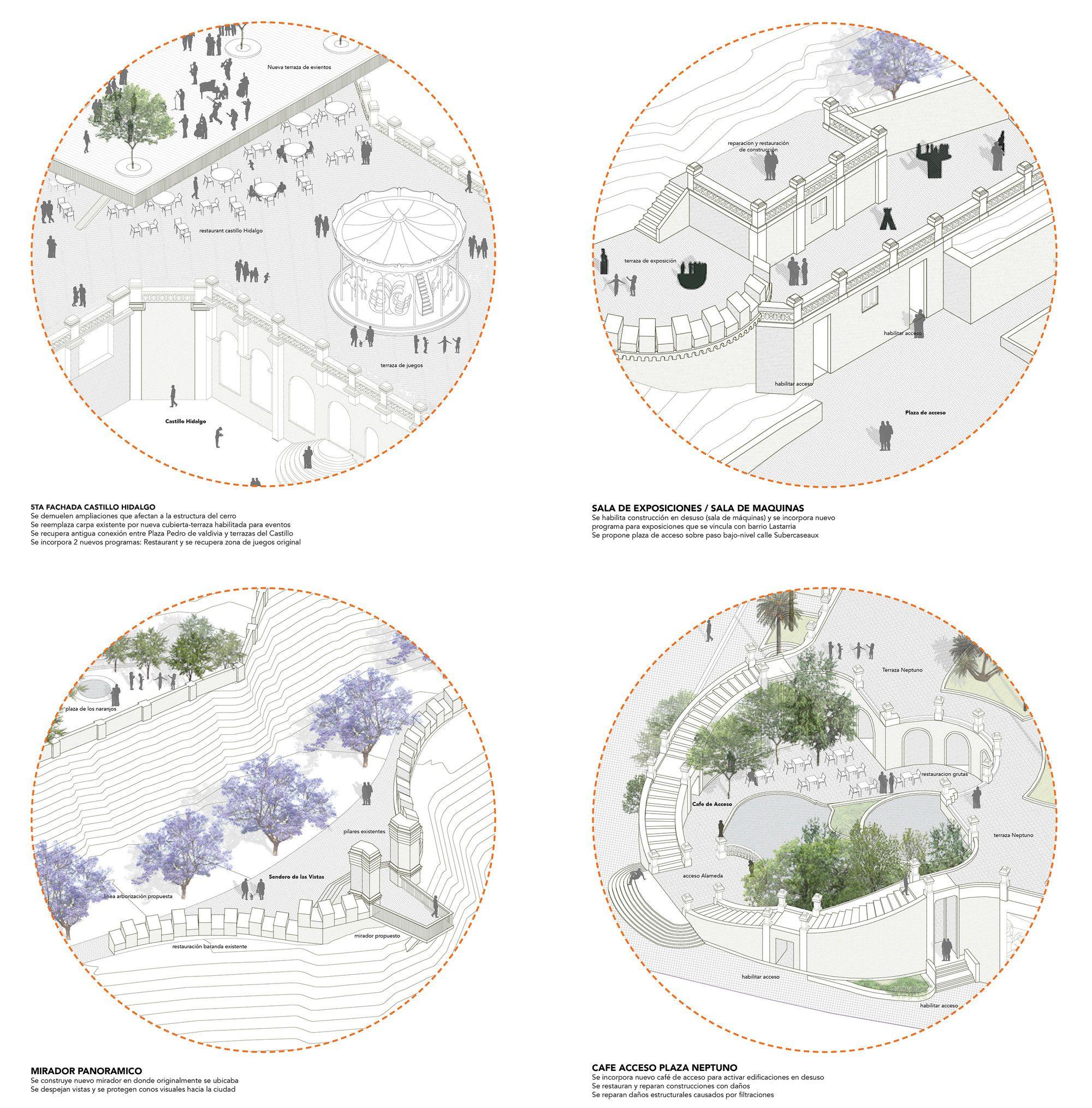 Galería - Jadue Livingstone + Juan Hurtado Arquitectos, primer lugar en concurso de ideas para Cerro Santa Lucía - 10