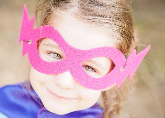 Child Pink//Orange Reversible Superhero Mask ~ HALLOWEEN KIDS COSTUME PARTY MASK