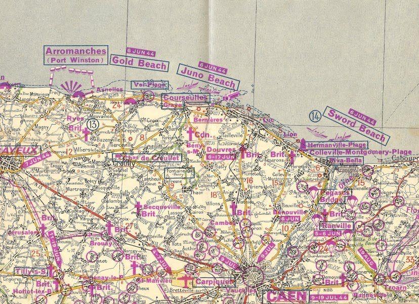 bataille de normandie carte 6 juin 1944   carte Michelin de la bataille de Normandie | D day