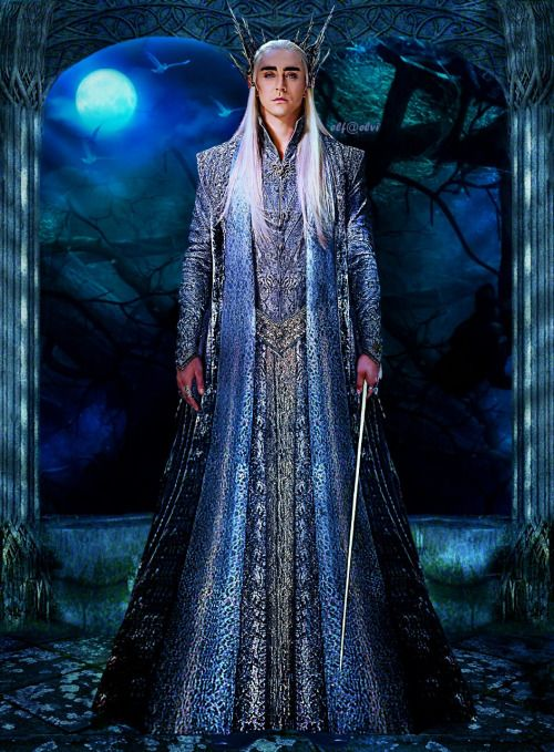 """""""The task we had with Thranduil's prologue costume was a subtle one, dyeing the fabric to bring out what was already in it. We dyed it a bluish, moonlight silver colour and then did a very subtle puff paint application on it to give it a little bit of texture. There was ombre & possibly some foiling involved as well, but to look at it you wouldn't know. Without it the fabric would seem flat, but what we did was help bring it to life & once under the lights it gave it more visual interest."""""""