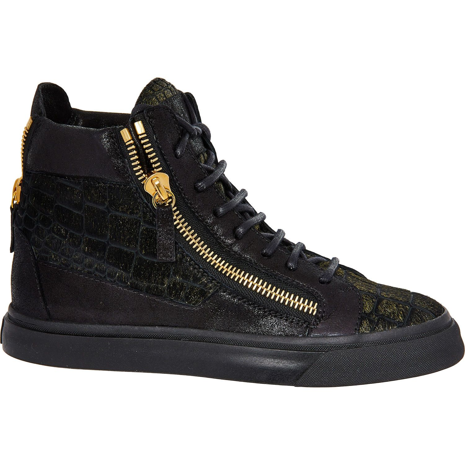 5f324f67fbd Black Leather High Top Trainers - Gold Label Shoes - Women s Gold Label -  Edits -