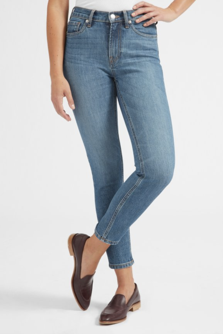 abbafe9e092e everlane high-rise skinny jeans in the perfect mid-blue wash