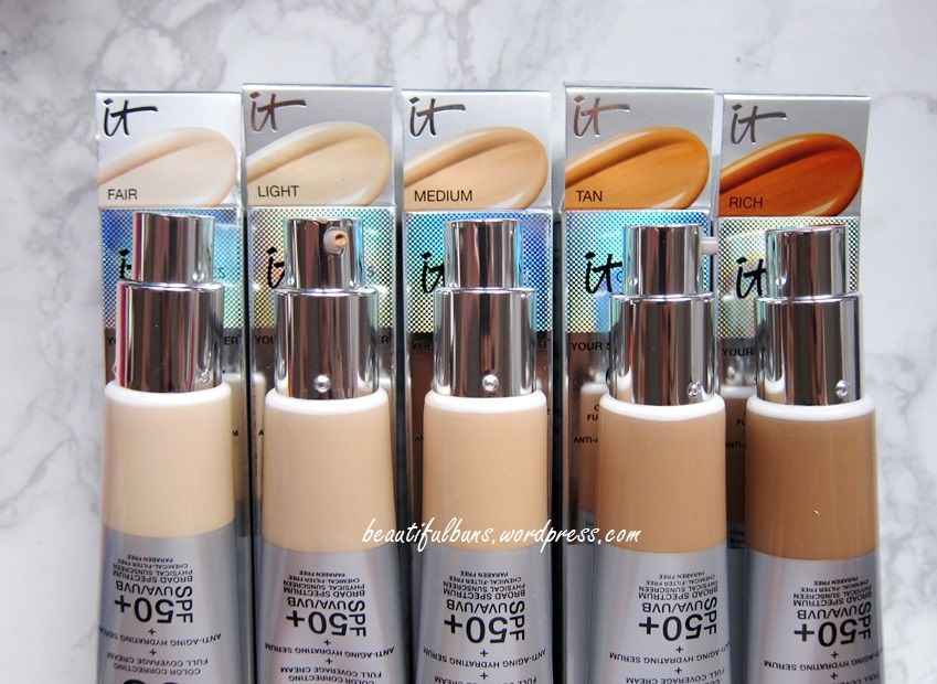 Review Swatches It Cosmetics Your Skin But Better Cc Cream All 5 Shades It Cosmetics Cc Cream It Cosmetics Cc Cream Swatches It Cosmetics Foundation