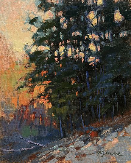 ☼ Painterly Landscape Escape ☼ landscape painting by Barbara Jaenicke | Evening Glow