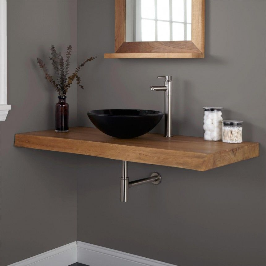 Chic L Teak Wall Mounted Vanity Single Slab Vessel Sink In Black Color And Stainless Faucet