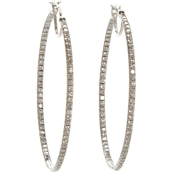 Cathy Waterman Pave Diamond Hoop Earrings Liked On Polyvore Featuring Jewelry