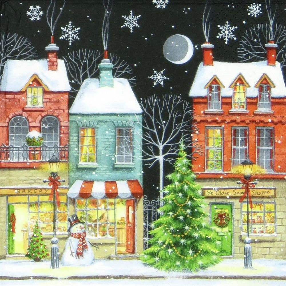 4x Paper Napkins - Coloured Christmas Shops - for Party, Decoupage Craft