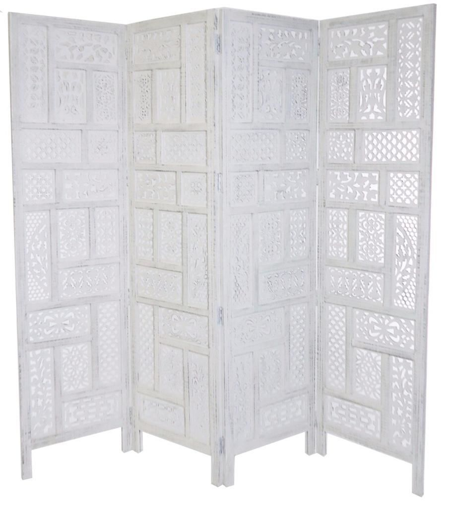 4 Panel Hand Carved Indian Screen Wooden Screen Divider Circle Jali  177x183cm[White]: