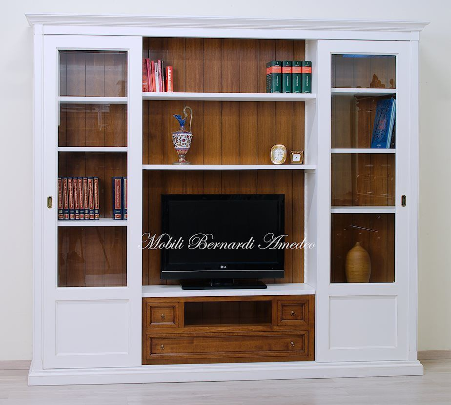 Sliding doors bookcase with Tv stand Libreria ad ante scorrevoli con ...