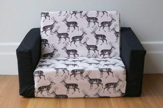 Kids Flip Out Sofa Cover Black On White Deer Print