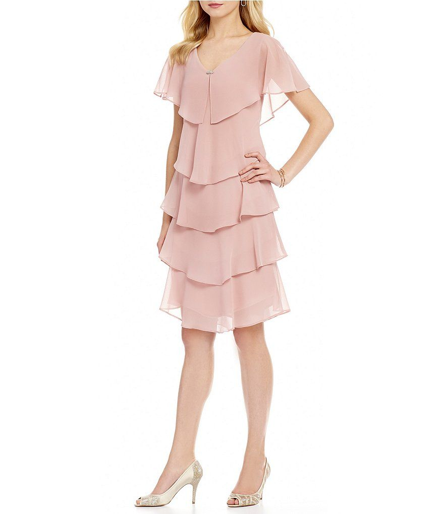 S.L. Fashions Georgette Tiered Capelet Dress