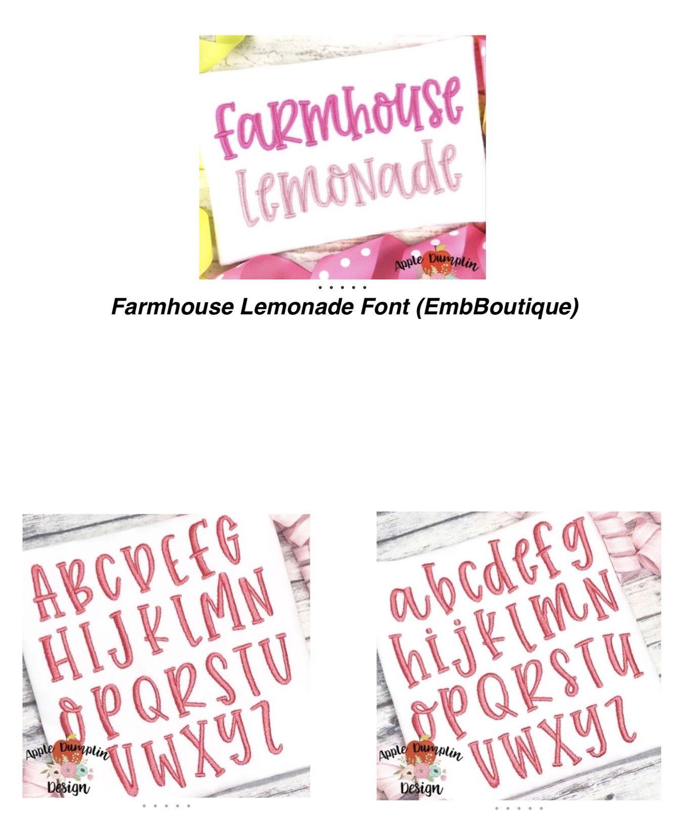 Farmhouse Lemonade Alphabet Embroidery alphabet