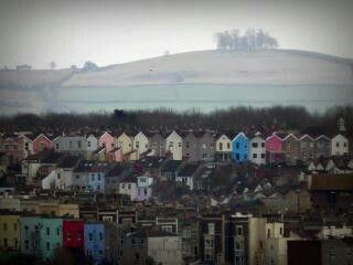 Kelston Round Hill, near Bath, beyond the colored houses of Totterdown and South Bristol