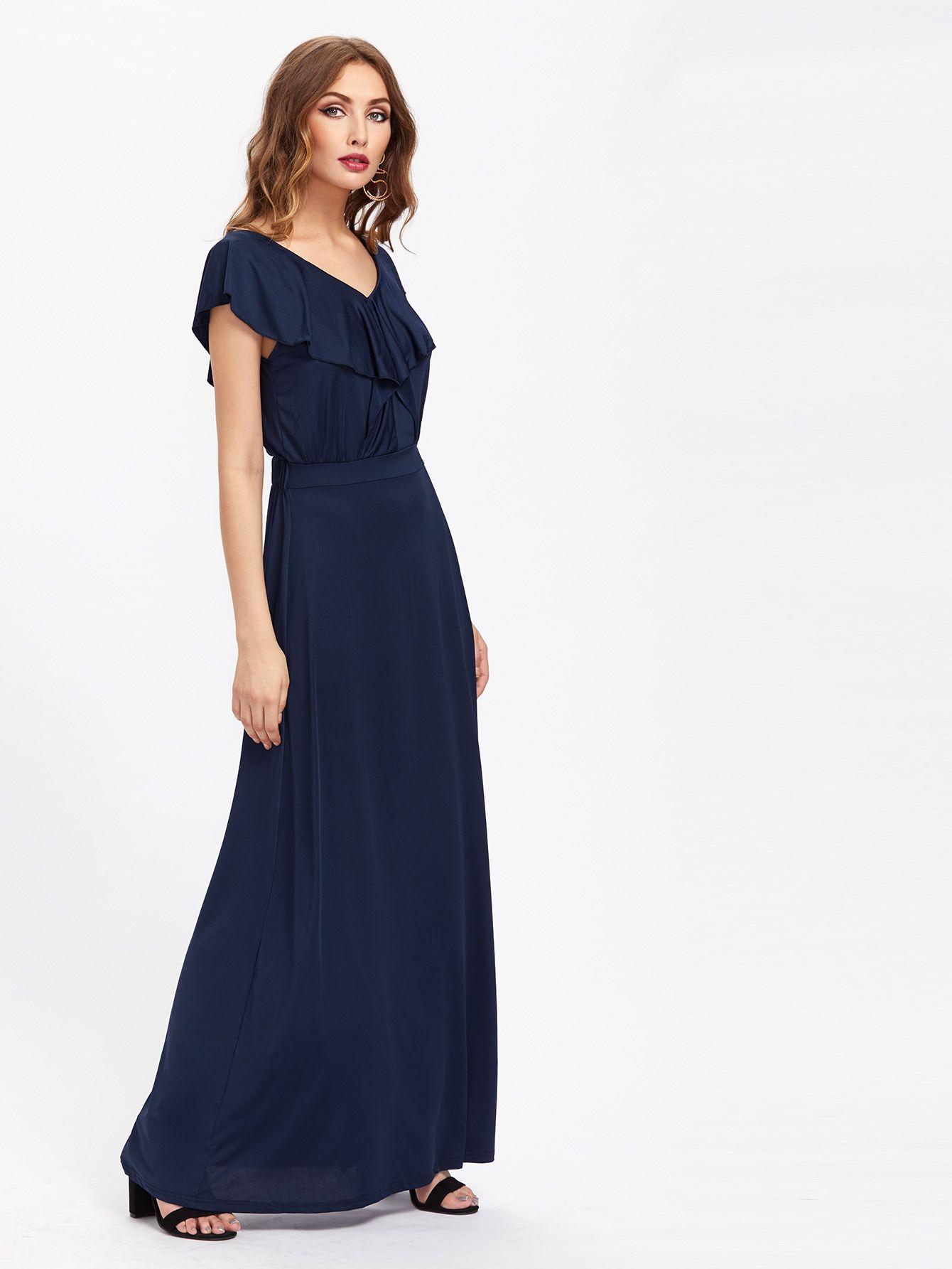 0543ebd4e3 Double V Frill Trim Full Length Dress -SheIn(Sheinside)   Virtual ...