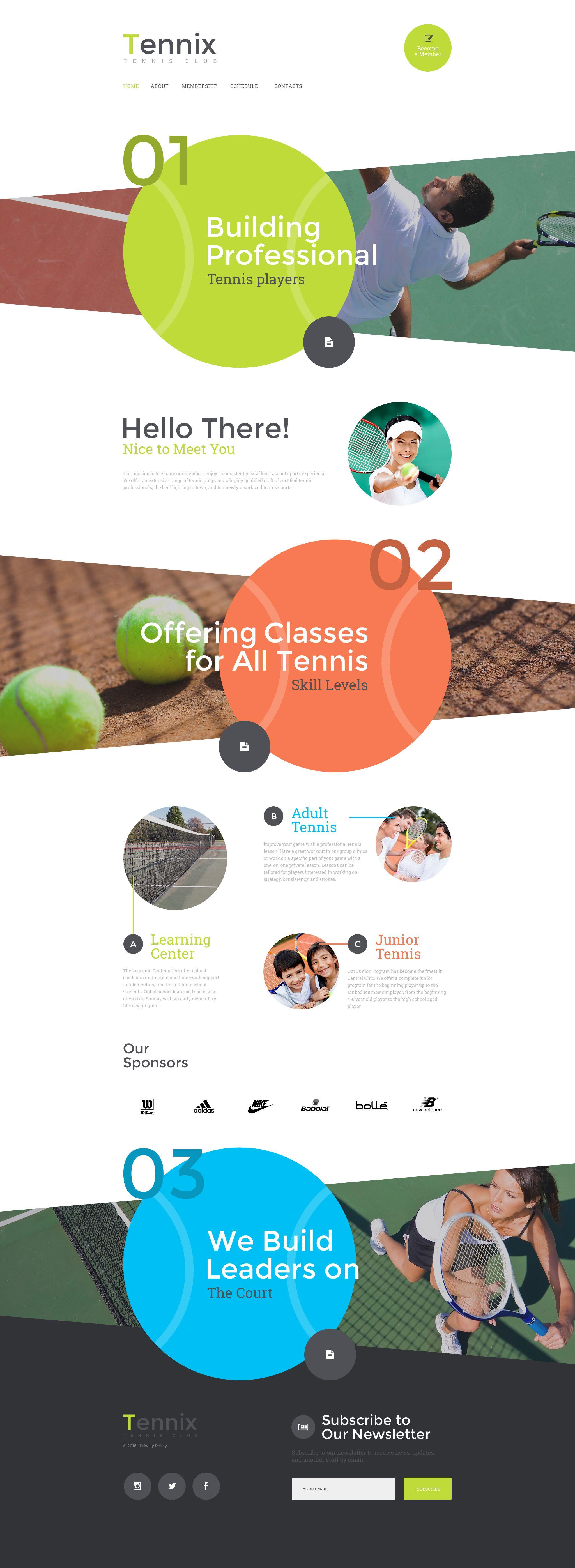 tennix website template design och inspiration