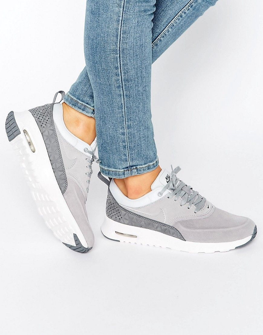 look out for on feet at online retailer Image 1 of Nike Air Max Thea Trainers In Premium Grey Nubuck ...