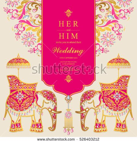 Indian wedding card, Elephant patterned gold and crystals color - fresh invitation template vector