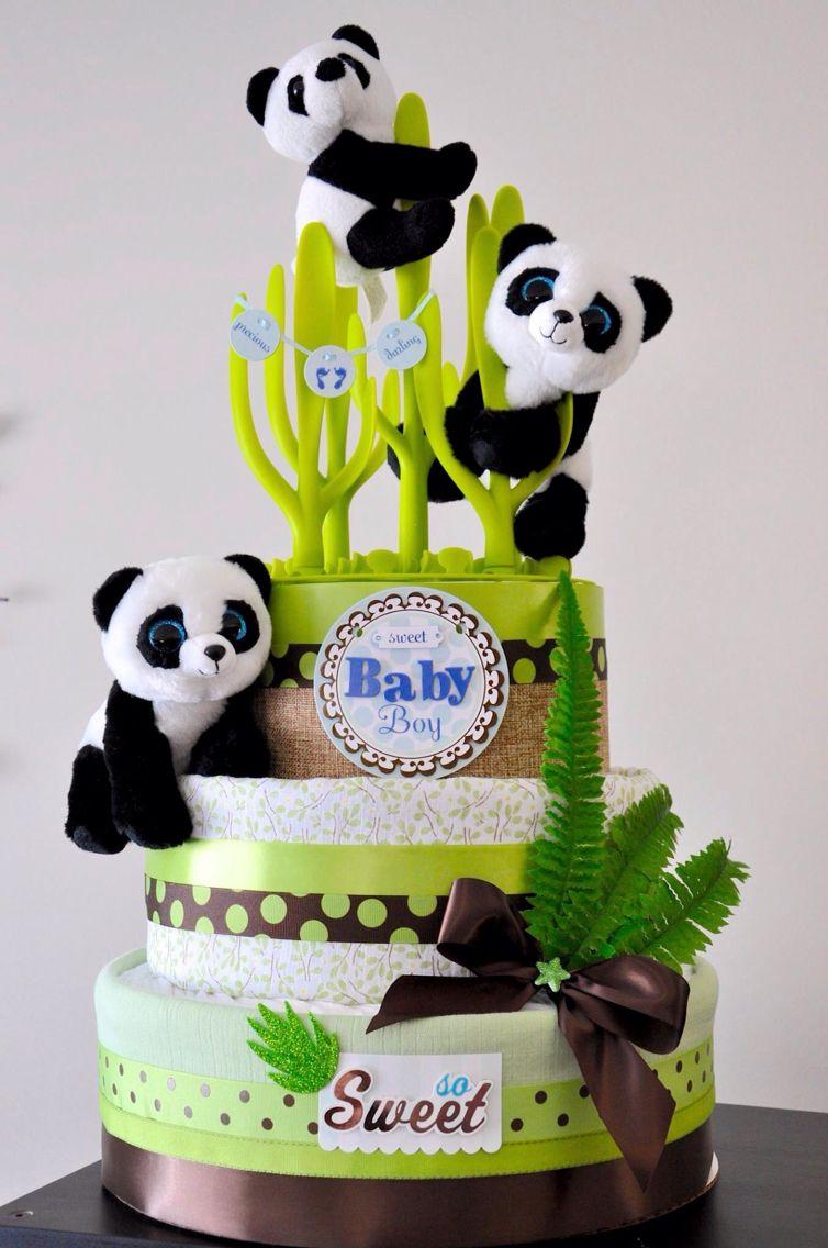 Panda Diaper Cake With Images Panda Baby Shower