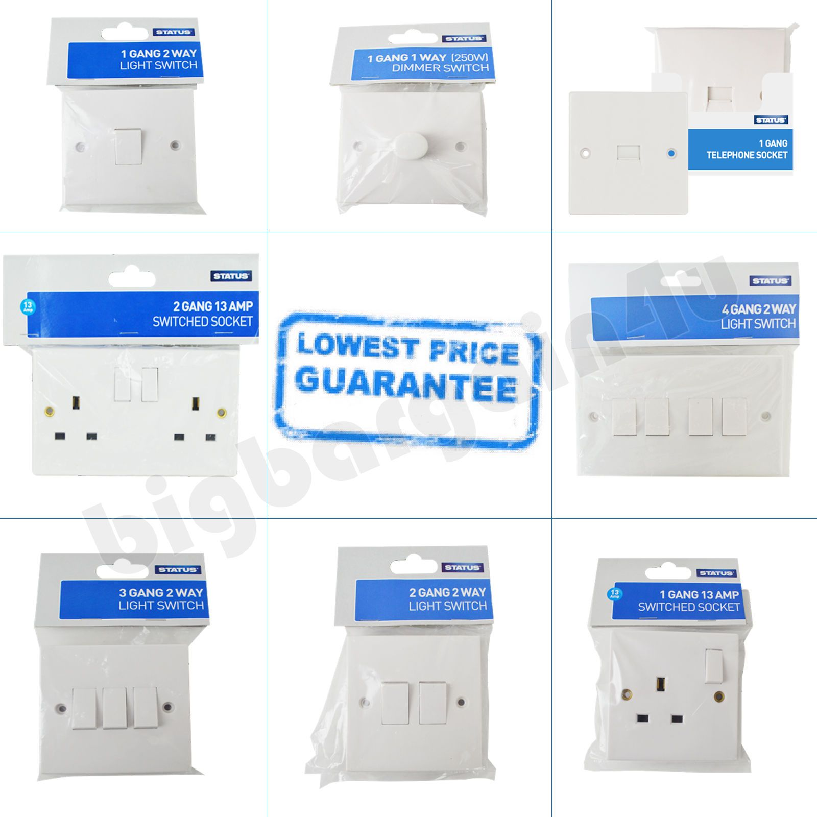 1 2 Way 3 4 Gang Light Switches Plug Telephone Sockets Dimmer Switch White