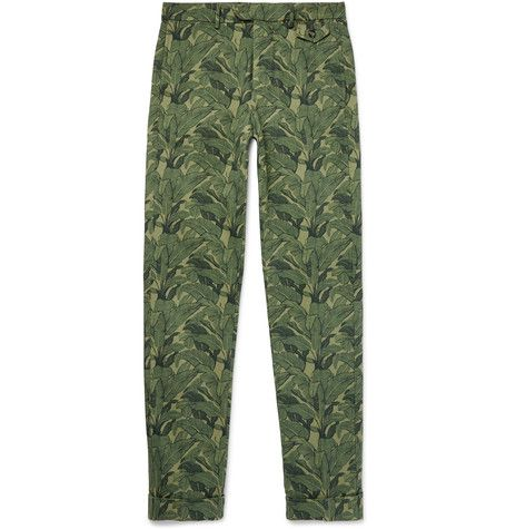 Skinny-Fit Banana Leaf-Print Cotton-Canvas Trousers, Michael Bastian | MR PORTER