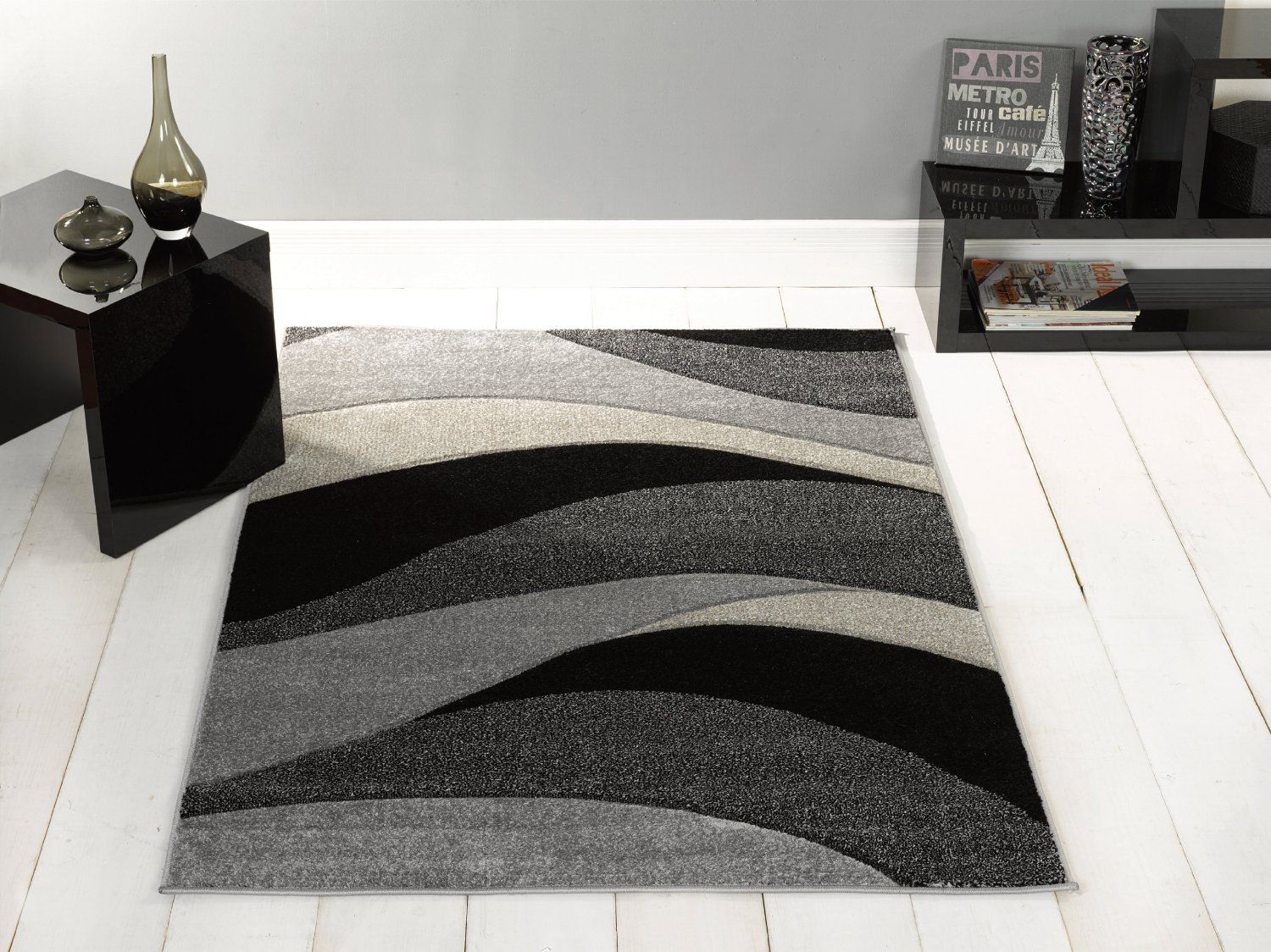 Large Contemporary Waves Design Black Grey Area Rug in 120 x 170 cm