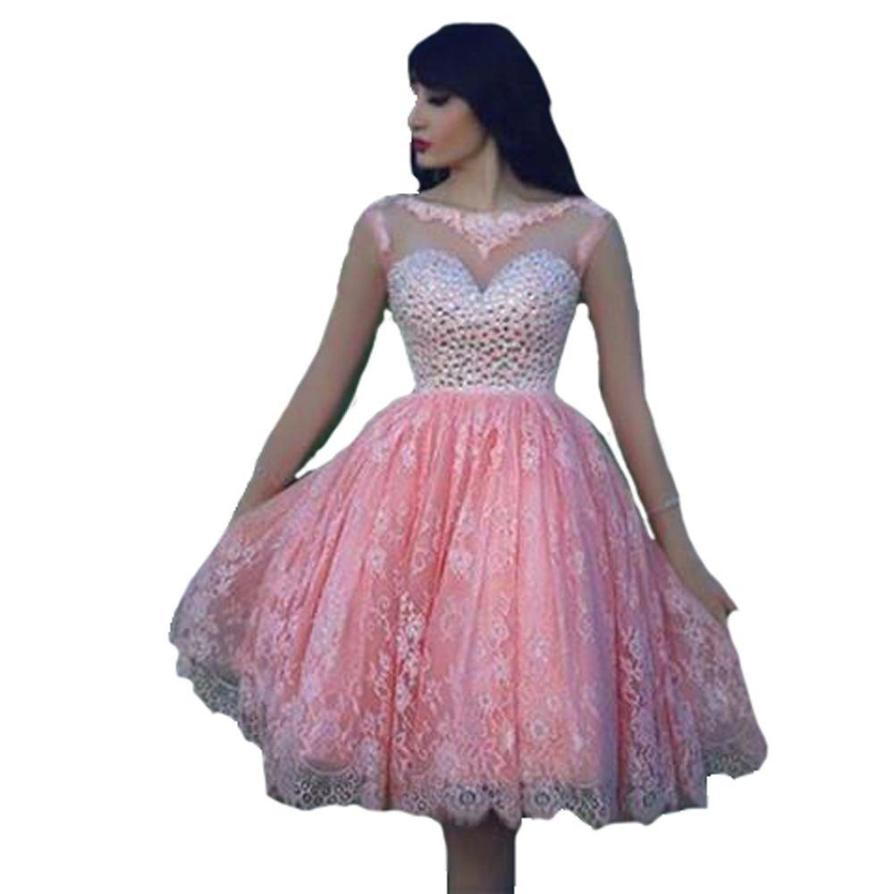 Semi formal wedding guest dresses   Sheer Lace Maid of Honer Rhinestone Crystals Pink Tulle wedding