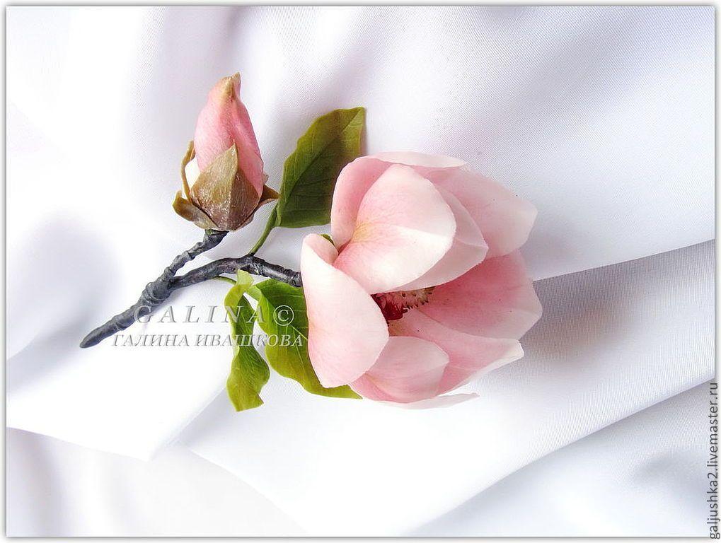 Купить Ветка Магнолия. Холодный форфор. - розовый, цветы из полимерной глины, магнолия, ветка магнолии