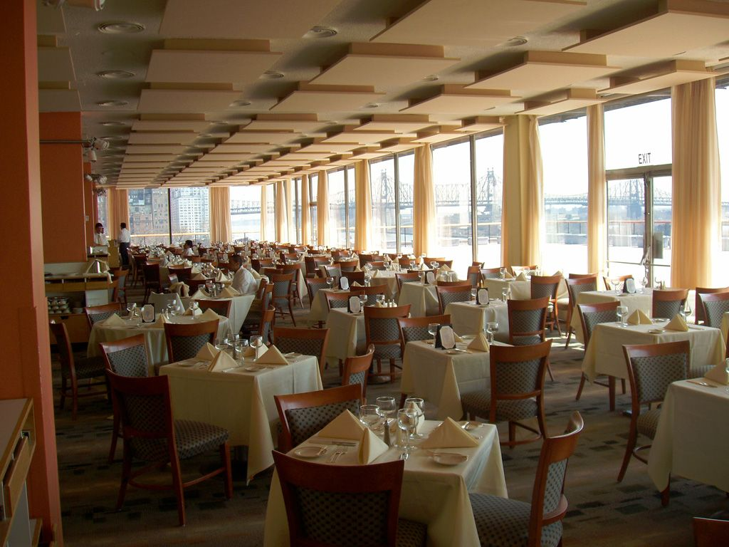 The Dining Room Of United Nations Is Opened To Public In Noon With A Fantastic View Over Manhattan And An International Buffet