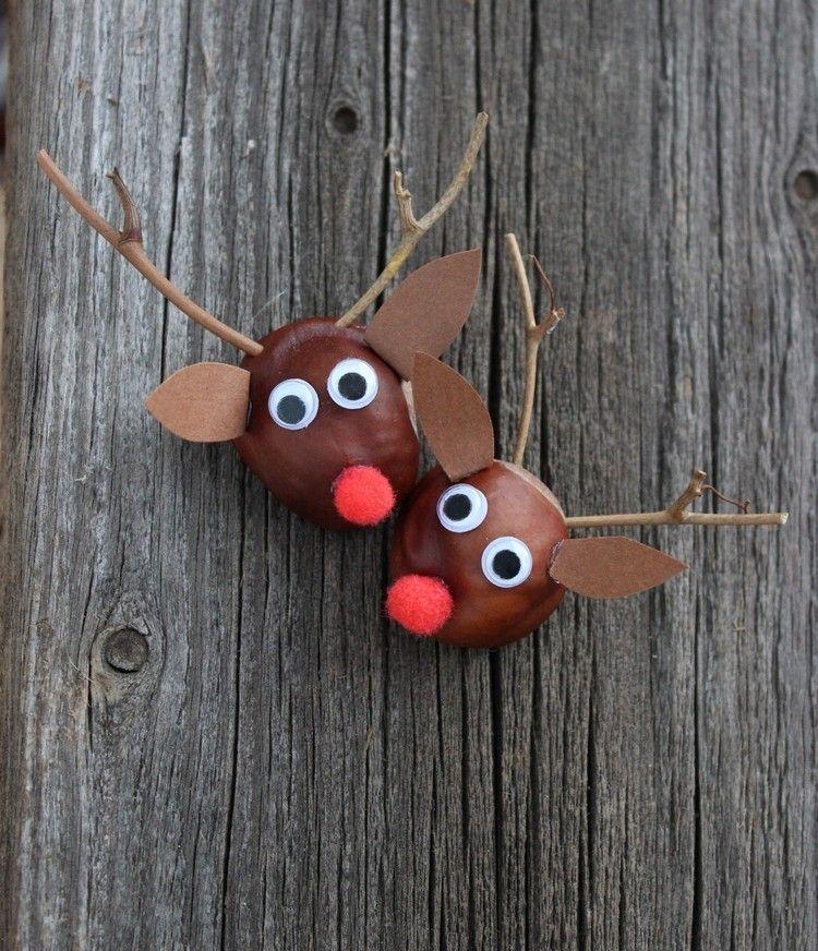 Rudolf das Rentier aus einer Kastanie und Zweigen basteln #kastanienbastelnkinder