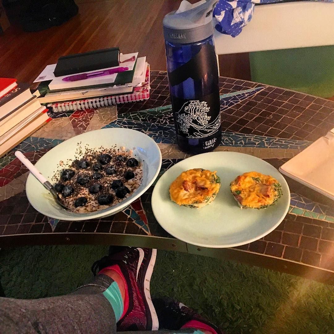 Post-gym rainy morning breakfast calls for #allthefood  #glutenfree muesli with fresh blueberries and sausage spinach frittatas  #tiuteam #tiusf #tiubayarea #tiucheckin #tiumeals #tiunutritionplan by chrissysf_tiu