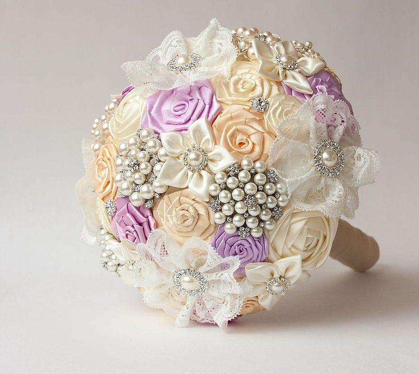 Букет невесты своими руками из атласных лент: инструкция и фото