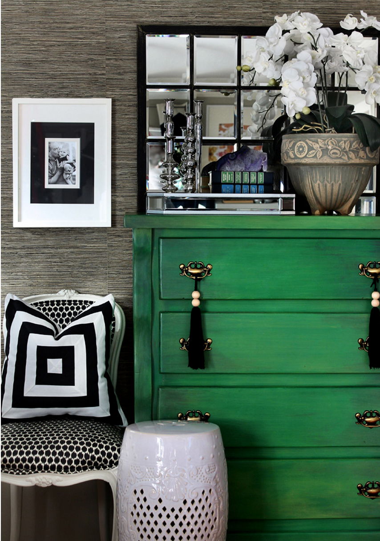 Geometric print, green and black interior