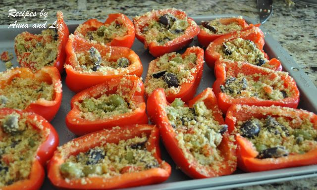 Easy Stuffed Red Peppers- Lightened! #bellpeppers