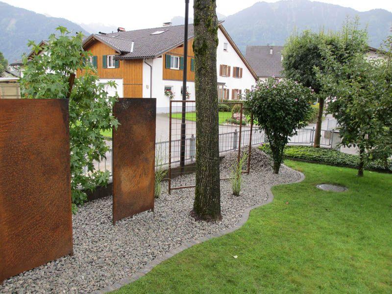 Sichtschutz rostig, Garteneinfassung, Brunnen aus Stahl ...