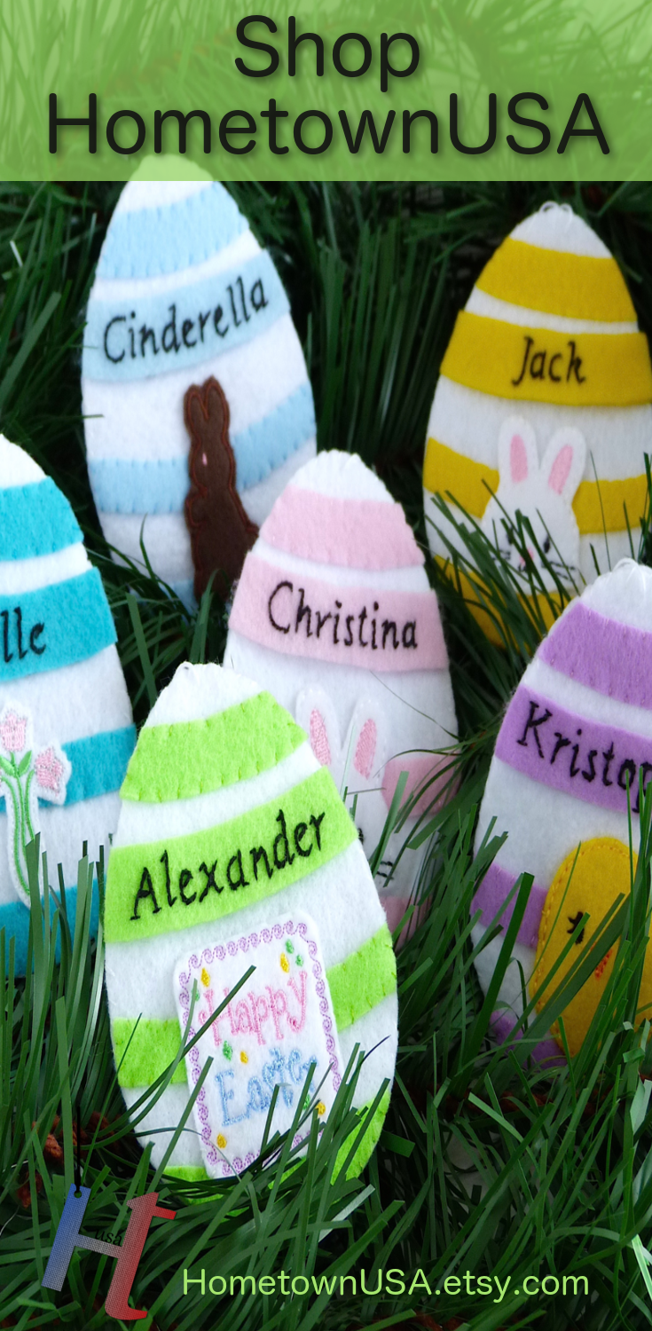 Personalized easter eggs felt easter eggs gift card holders genuine handmade quality decor and gifts by hometownusa personalized easter eggs negle Gallery