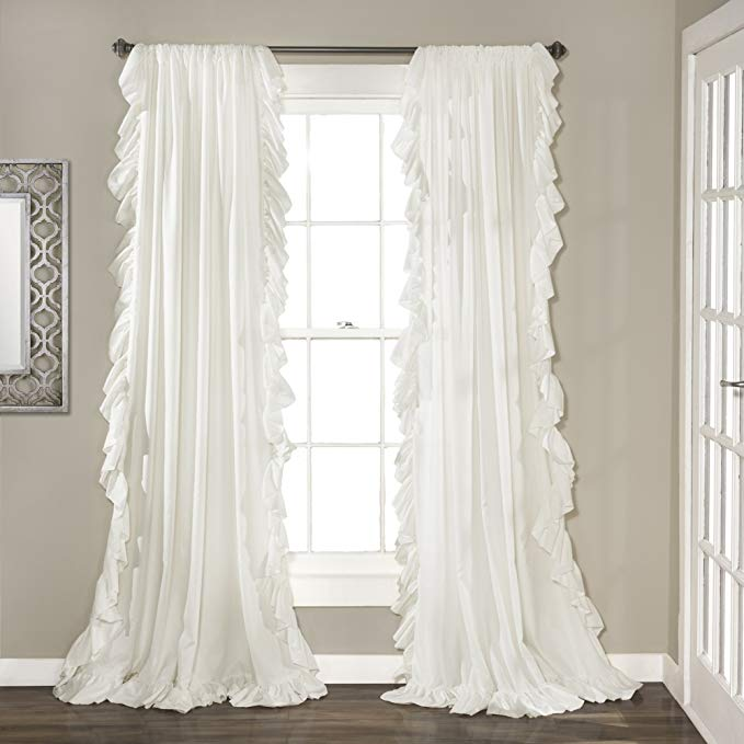 Amazon Com Lush Decor Reyna White Window Panel Curtain Set For