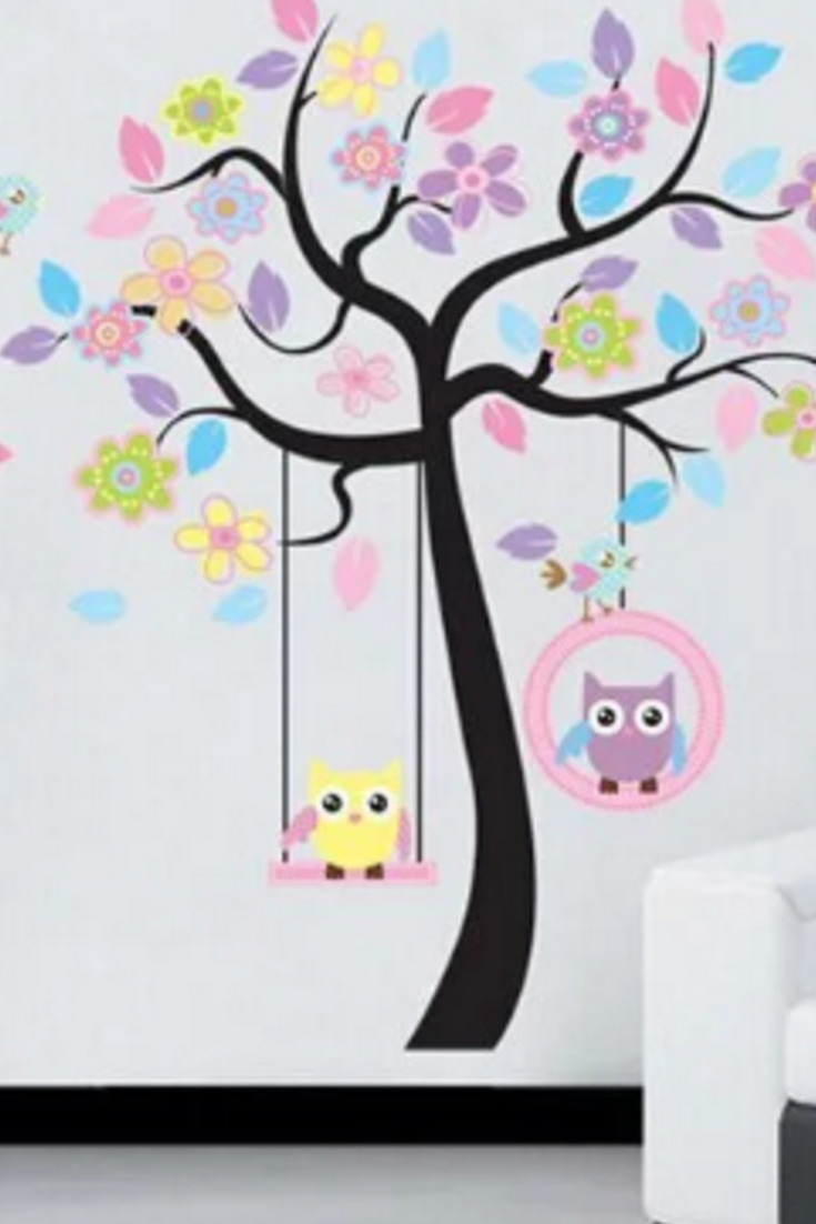 Colorful And Cheerful Tree With Owls And Swing Wall Decal Great