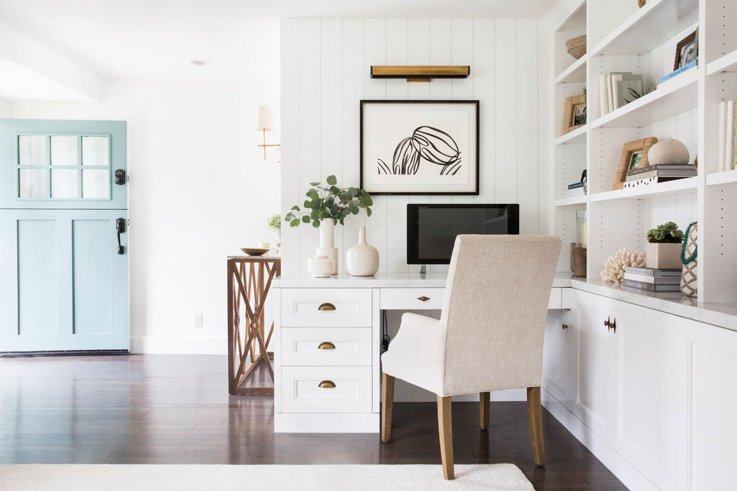 Home office interior a clean coastal home in costa mesa ca  rue  work spaces