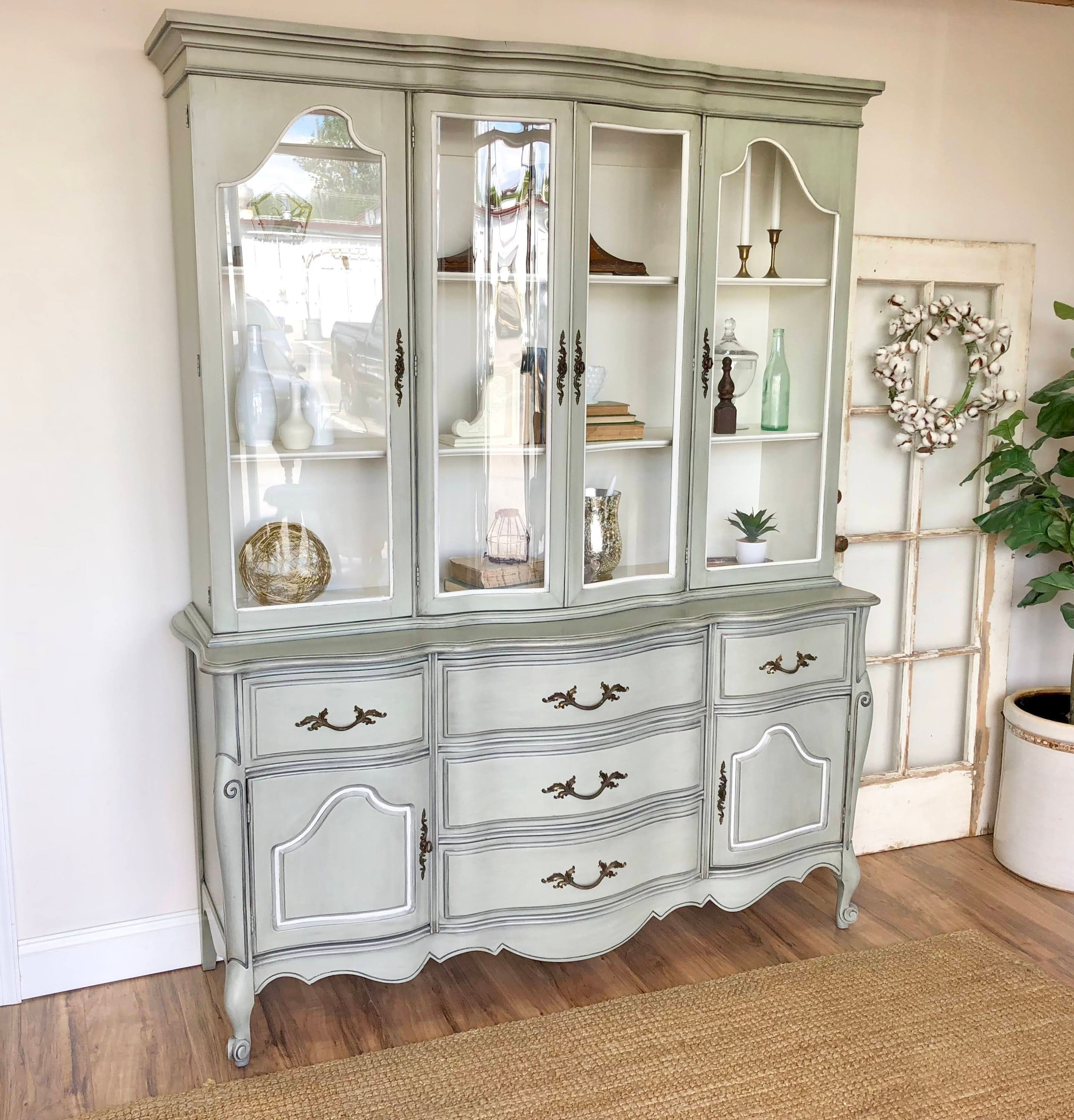 French Provincial Vintage China Cabinet Shabby Chic Furniture Vintage China Cabinets Chic Home Decor Shabby Chic Furniture