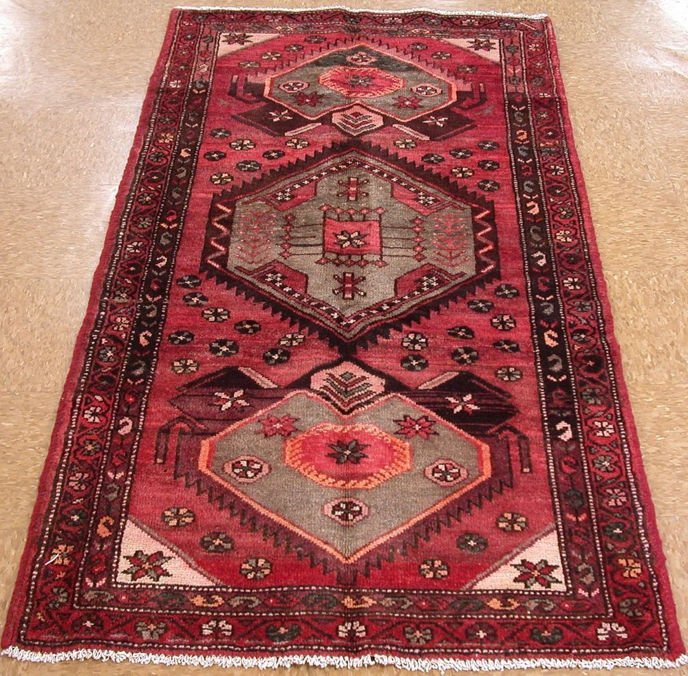 3 X 6 Persian Hamedan Tribal Hand Knotted Wool Red Beige Oriental Rug