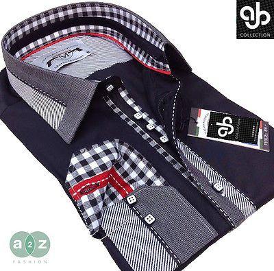 7db45cf816ec Brand New Mens Formal Black, White, Grey Smart Italian Designer Slim Fit  Shirt in Clothes, Shoes & Accessories, Clothes, Shoes & Accessories   eBay