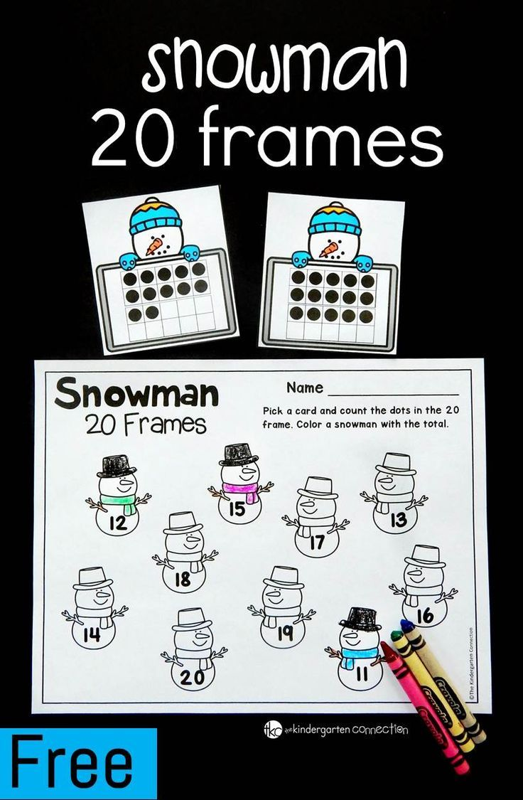 Snowman 20 Frames Math Game | Teen numbers, Pre-school and Maths
