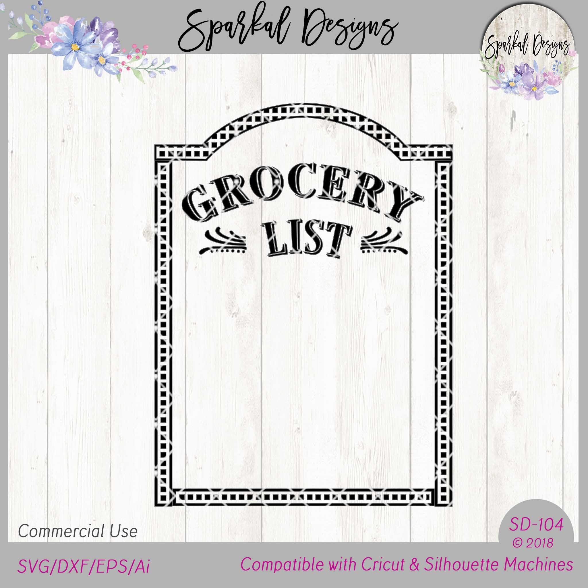 Grocery List Stencil File Svg Dxf Eps Silhouette Machine Sign Maker Cricut