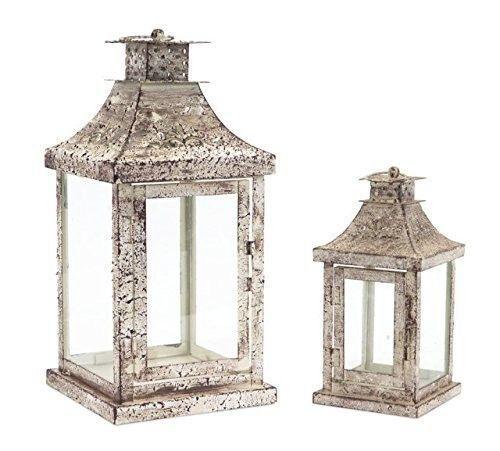 Antiqued Distressed Creme Iron & Glass Lanterns