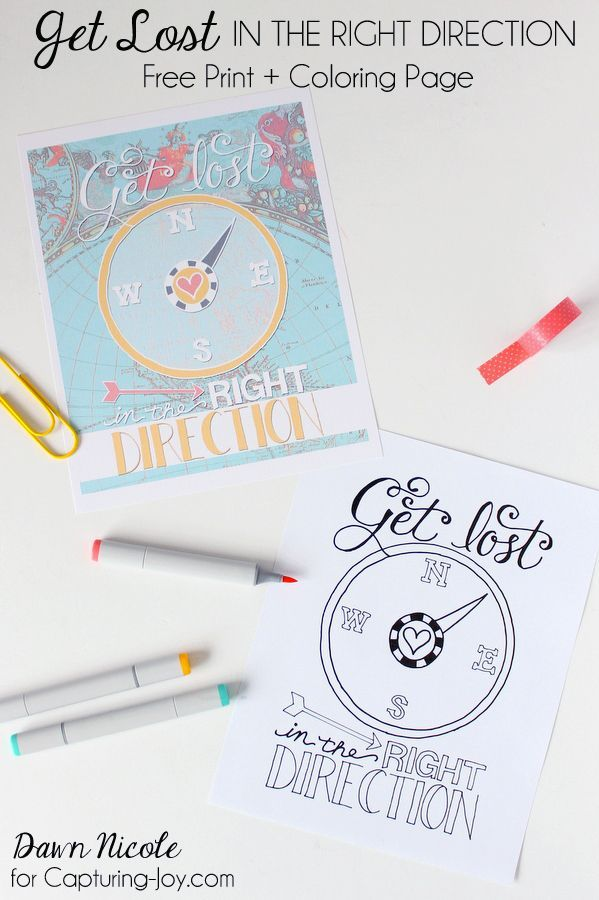 Get Lost in the Right Direction Free Coloring Page art + free Print   http://capturing-joy.com