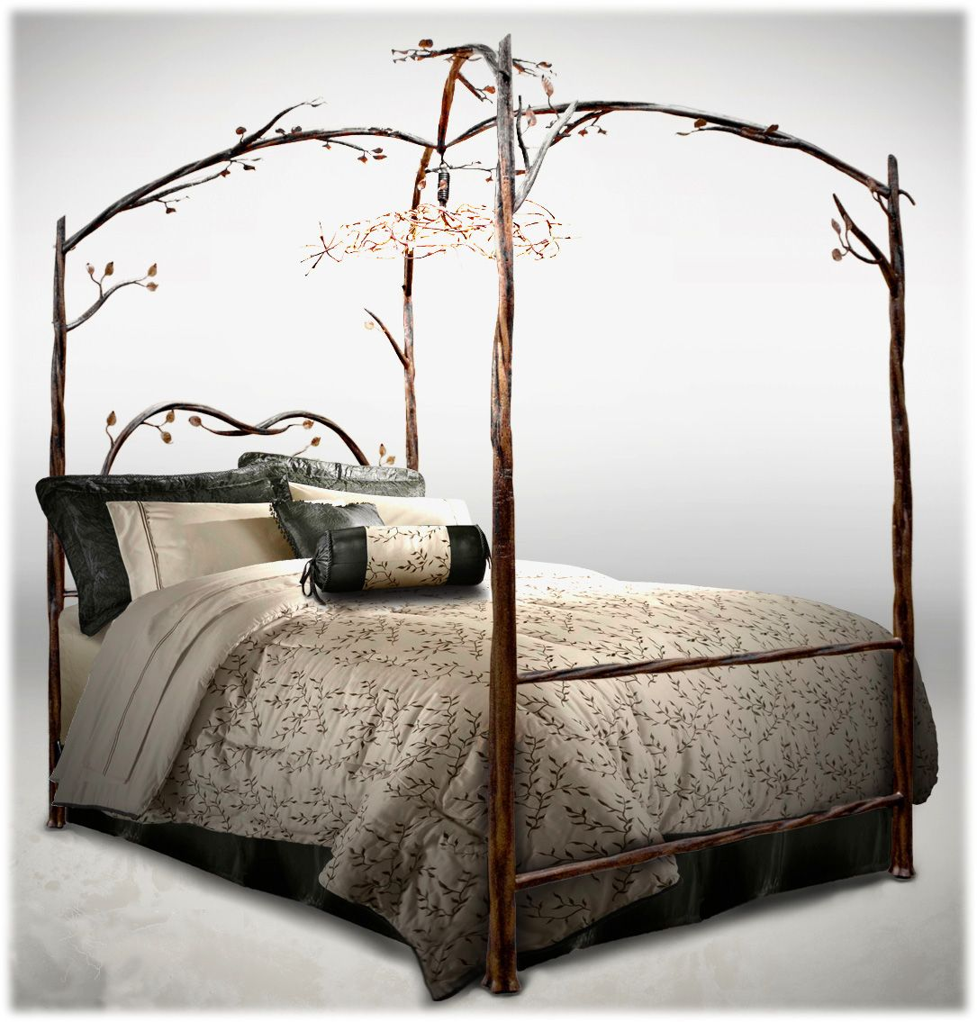 Delazious Wrought Iron Canopy Bed With Detailed Iron Branches