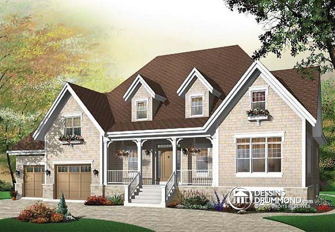 W3434 - Plan de maison style rustique, 3 à 4 chambres, 2 séjours